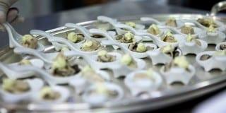 cucchiaino d'ostrica al vapore con salsa di limone e dragoncello_villafeandaeventi
